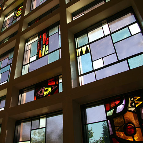 Stained glass windows in Hertz Hall. Photo by Keegan Houser.